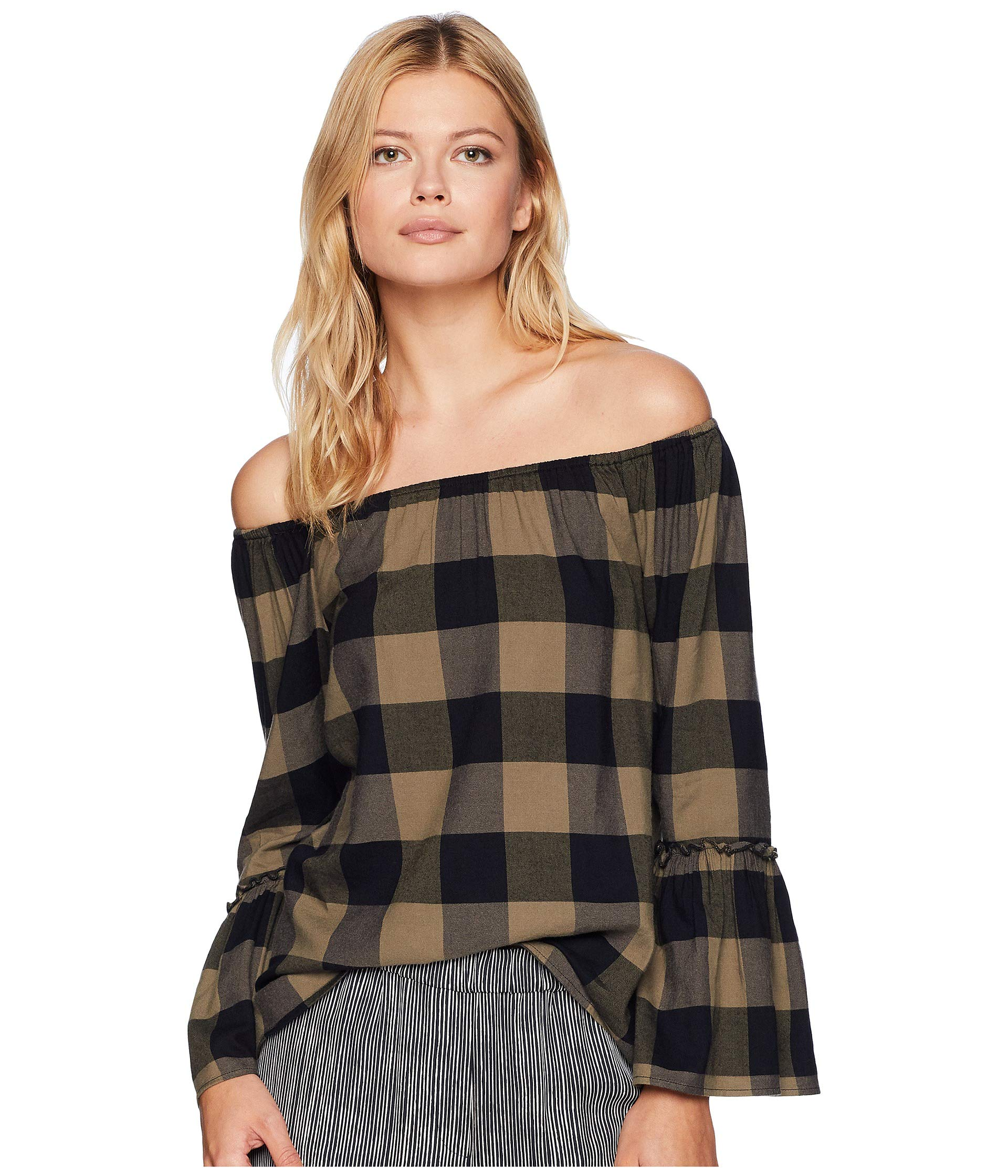 plaid in 4 design blend tribal bell soft blouse fabrication an sleeve cotton 3 allover znwq5on7
