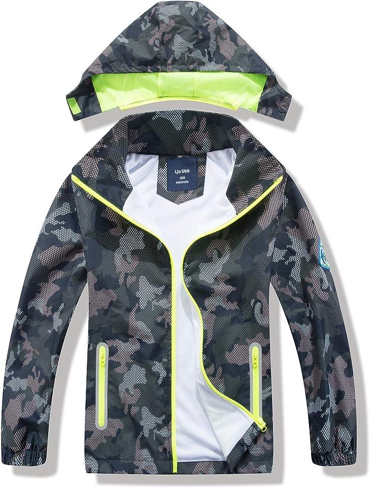 Kids Waterproof Jacket Boys Camo Raincoat,Childrens Lightweight Rain Coat with Hood 2-7 years