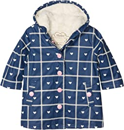 Hatley Kids - Navy Plaid with Hearts Splash Jacket (Toddler/Little Kids/Big Kids)