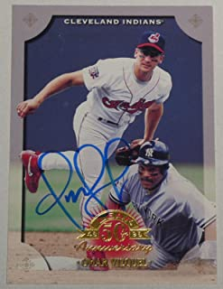 Omar Vizquel Signed 1998 Leaf Indians Baseball Card 110 11x Gold Glove Autograph - MLB Autographed Baseball Cards