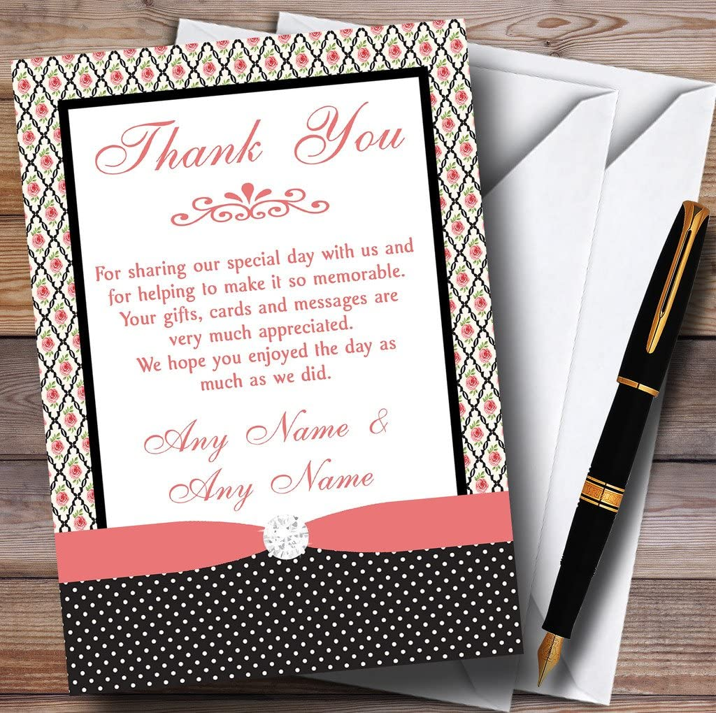 Coral Pink Rose Shabby Chic Black Polkadot Personalized Wedding Thank You Cards