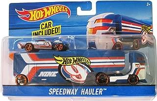 Hot Wheels City Rig - Speedway Hauler Blue, Orange, White Transporter & Car