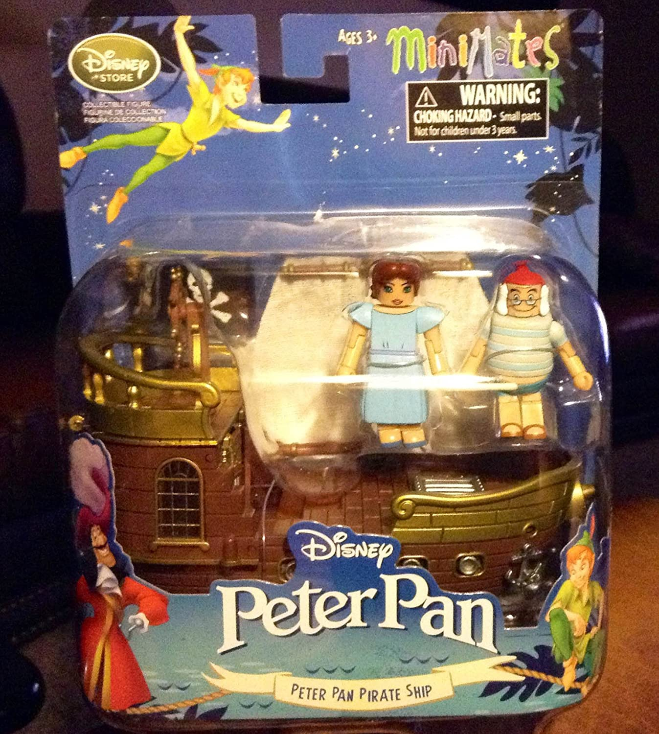 Disney MiniMates Peter Pan Jolly Rodger Pirate Ship Playset Figurine Wendy, Mr Smee