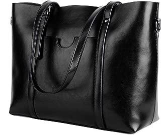 YALUXE Women's Leather Work Tote Large Shoulder Bag Purse Pocketbook