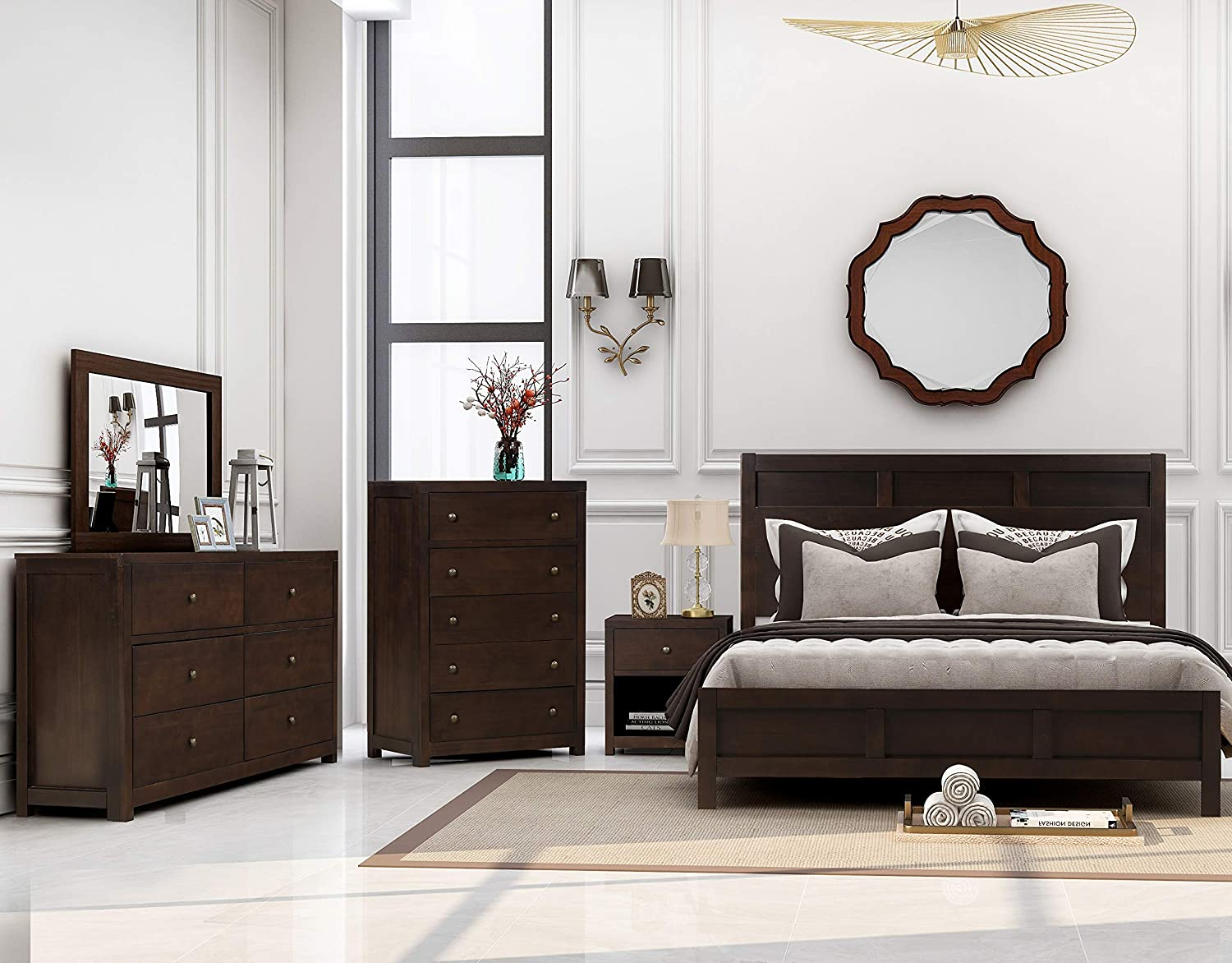 Amazon Com Knocbel 3 Pieces Classic Rich Brown Finish Wood Bedroom Set Queen Size Bed 6 Drawer Dresser 1 Nightstand Brown