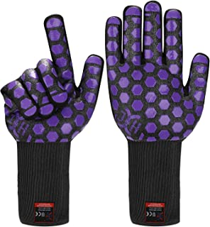 JH Heat Resistant Oven Glove:EN407 Certified 932 �F, 2 Layers Silicone Coating, Black Shell with Purple Coating, BBQ & Oven Mitts For Cooking, Kitchen, Fireplace, Grilling, 1 Pair, Extended Long Cuff