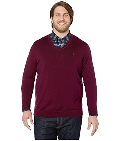 Polo Ralph Lauren Big & Tall Washable Merino Wool V-Neck Sweater (Classic Burgundy) Men