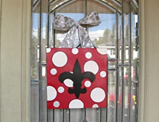Christmas Fleur de Lis Wood Door Hanger Wreath, 12