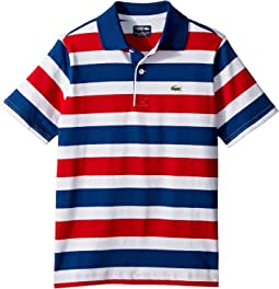 Short Sleeve Striped Jersey Polo (Little Kids/Big Kids)