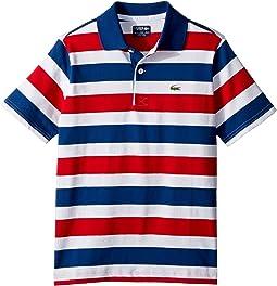 Lacoste Kids Short Sleeve Striped Jersey Polo (Little Kids/Big Kids)