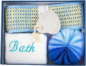 Keraiz Stella Bathroom 4-Piece Combination Home Gift Set Loofa Pumice Bath Sponge with 2 Spa Candles, Blue, 10 x 5 x 10 cm