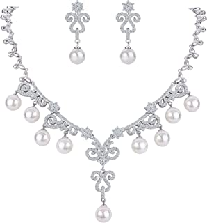 FANZE Women's CZ Simulated Pearl Vintage Princess Art Deco Filigree Necklace Earrings Bridal Jewelry Set for Wedding
