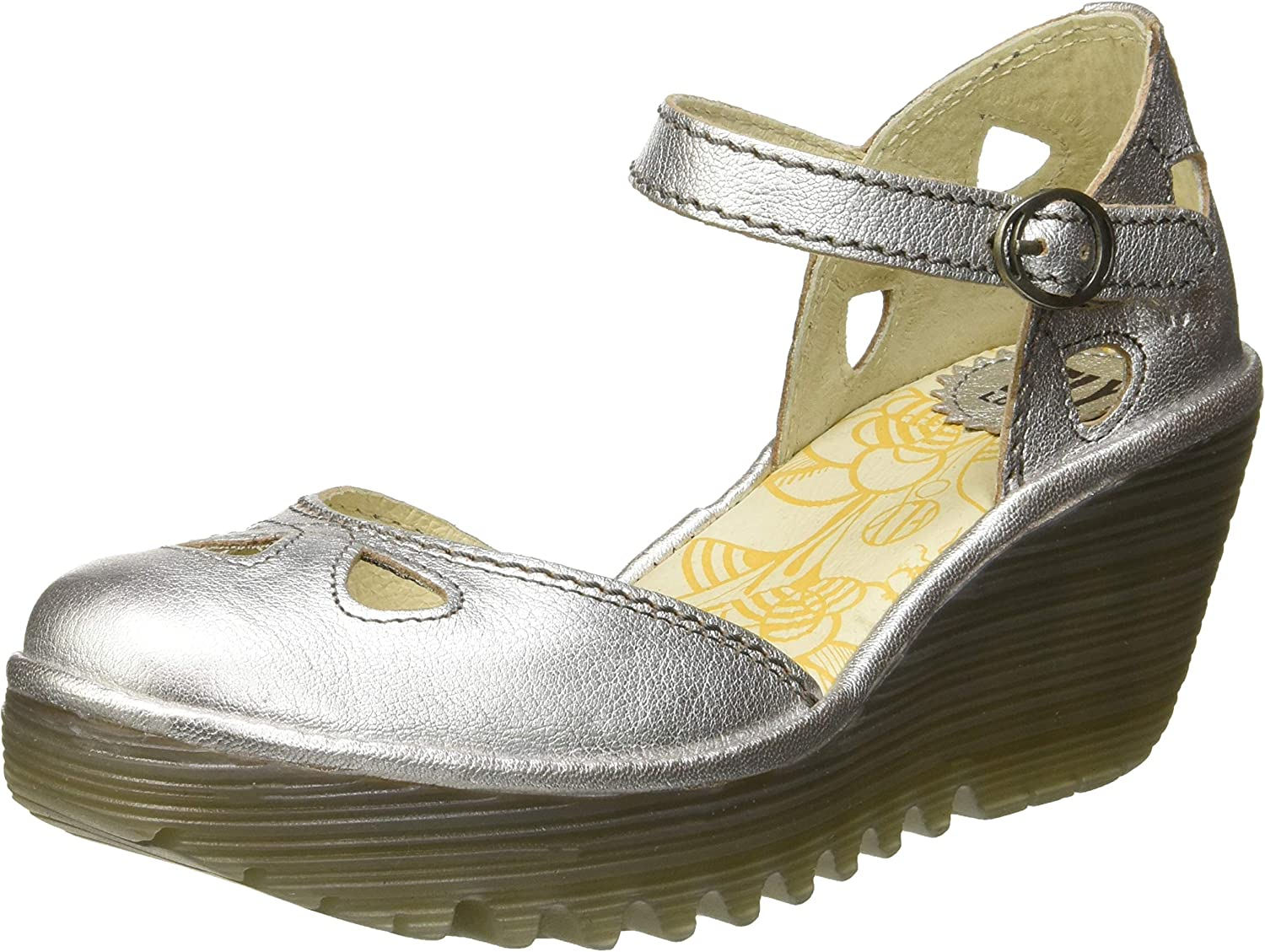 Fly London Womens Yuna Idra Ankle Strap Closed Toe Wedge Leather shoes