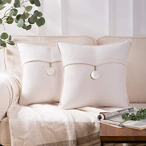 new arrival Phantoscope Pack of 2 Natural Shell Button Throw Pillow Covers Farmhouse Luxury Vintage Hand Embroidery White Thread Trimmed Decorative Off White Pillows, 18 online sale x new arrival 18 inches, 45 x 45 cm outlet sale
