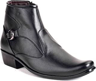 Levanse Black Top Grain Leather Mid Ankle Slip on Boots for Men/Boys