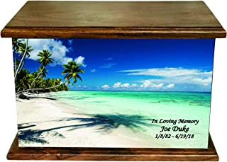 NWA White Tropical Beaches Human Adult Size Wooden Cremation Urn with Custom Personalization
