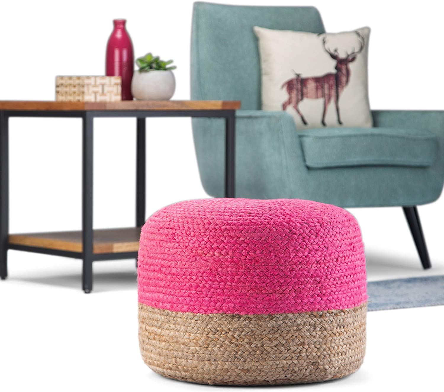 SIMPLIHOME Lydia Round Bombing new work Poufs Natural Pink Quality inspection