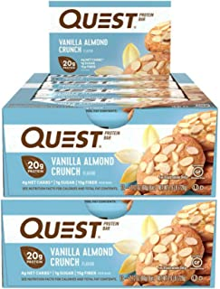 Quest Nutrition Protein Bar Vanilla Almond Crunch. Low Carb Meal Replacement Bar with 20 gram Protein. High Fiber, Gluten-Free (24 Count)