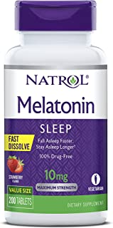Natrol Melatonin Fast Dissolve Tablets, Helps You Fall Asleep Faster, Stay Asleep Longer, Easy to Take, Dissolves in Mout...