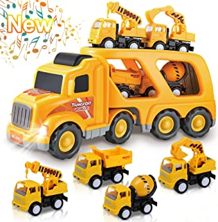 Toys for 1 2 3 4 5 6 Year Old Boys, Kids Toys Truck for Toddler Boys Girls, 5 in 1 Friction Power Construction Toys Car Carrier Vehicle for Age 3-9 Boys Christmas Birthday Gifts for Kids Age 3 4 5 6