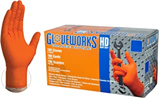 GLOVEWORKS HD Industrial Orange Nitrile Gloves - 8 mil, Latex Free, Powder Free, Diamond Texture, Disposable, Heavy Duty, Large, GWON46100-BX, Box of 100