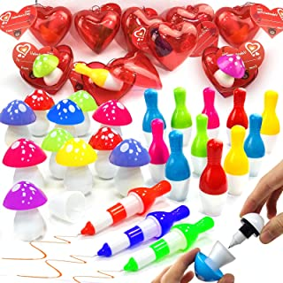 32 Pcs Valentines Gift Cards for Kids + 28 Transform Pen Toy 2 Style Novelty Stationery Set 3.1'' Filled Hearts Storage Gi...