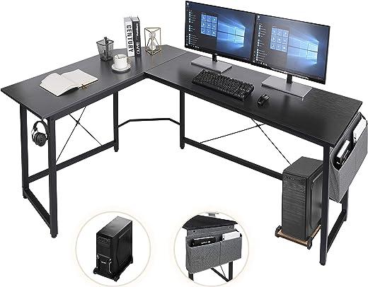 AuAg L-förmiger Schreibtisch,167cm L-Form Computertisch mit Aufbewahrungstasche und Haken, Eckschreibtisch Stabiler PC Laptop-Tisch, Größerer…