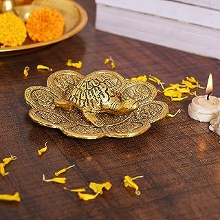 CraftVatika Metal Feng Shui Tortoise On Plate Showpiece - Best Gift for Career and Good Luck Vastu - Turtle Figurine Lucky...