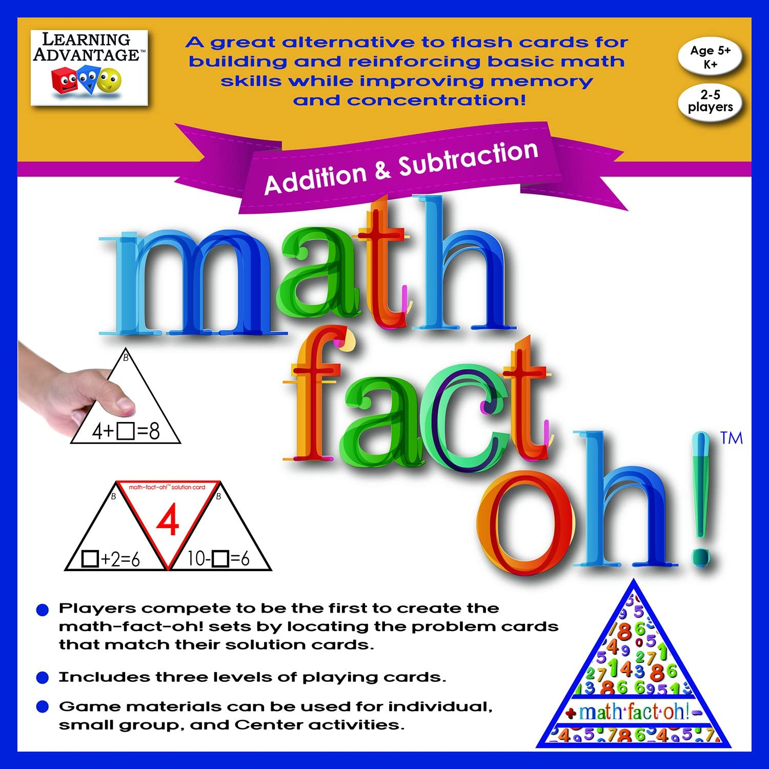 Learning Advantage 2163 math-fact-oh  Addition and Subtraction Game, Minimum Recommended Grade  Kindergarten