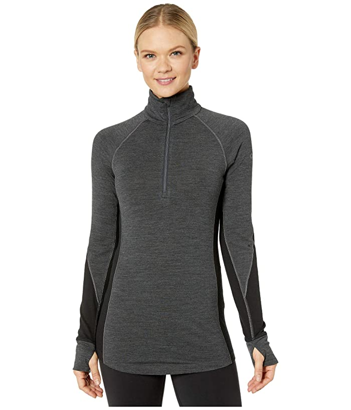 Icebreaker  260 Zone Merino Baselayer Long Sleeve 1/2 Zip (Jet Heather/Black) Womens Clothing
