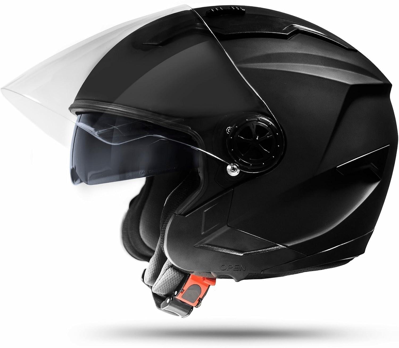 Ato Moto Jet Helm La Street Motorradhelm Mit Doppelvisier System Integrierte Visiermechanik 4 Punkt Belüftung Sicherheitsnorm Ece 2205 Größe S 55 56cm Auto