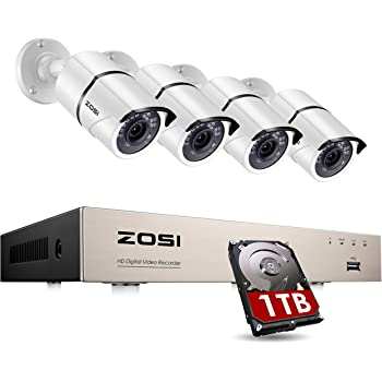 ZOSI 8CH 1080P Home Security Camera System Outdoor with 1TB Hard Drive, H.265+ 8 Channel 5MP Lite Wired DVR with 4pcs 1080P HD IP67 Weatherproof CCTV Cameras with 120ft Night Vision,Remote Access