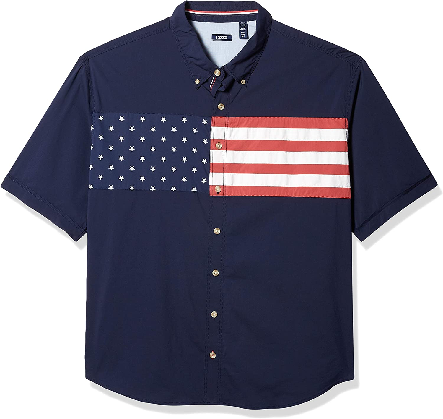 IZOD Men's Big and Tall Outpost Short Sleeve Button Down Americana Shirt