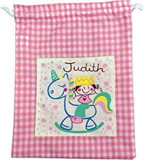 Saco de merienda personalizado unicornia Vichy