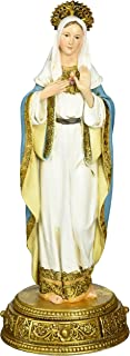 Heavenly Protectors Joseph's Studio by Roman Exclusive Immaculate Heart of Mary Figurine on Gold Base with a Drawer That Contains a Prayer to The Saint, 10.25-Inch