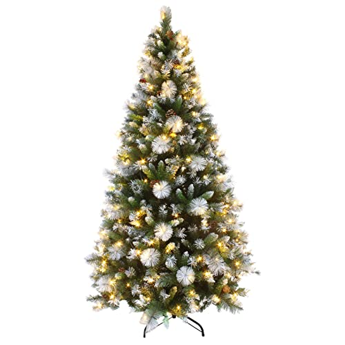Mr Crimbo 7ft Luxury Pre Lit Decorated Artificial Christmas Tree LED Lights  Frosted Tips - Pre Lit Artificial Christmas Tree: Amazon.co.uk