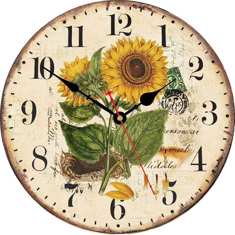 TAHEAT 20 cm Verano Girasol Reloj de Pared, Retro Rústico Floral De Pilas Relojes De Madera Decorativo Fácil de Leer para casa/ Oficina/ Colegio/ Bar