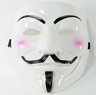 White, Black, or Yellow V for Vendetta Guy Fawkes Anonymous Costume Halloween Cosplay Protest Mask