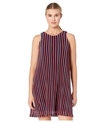 Adrianna Papell Knit Stripe A-Line Dress (Red Multi) Women