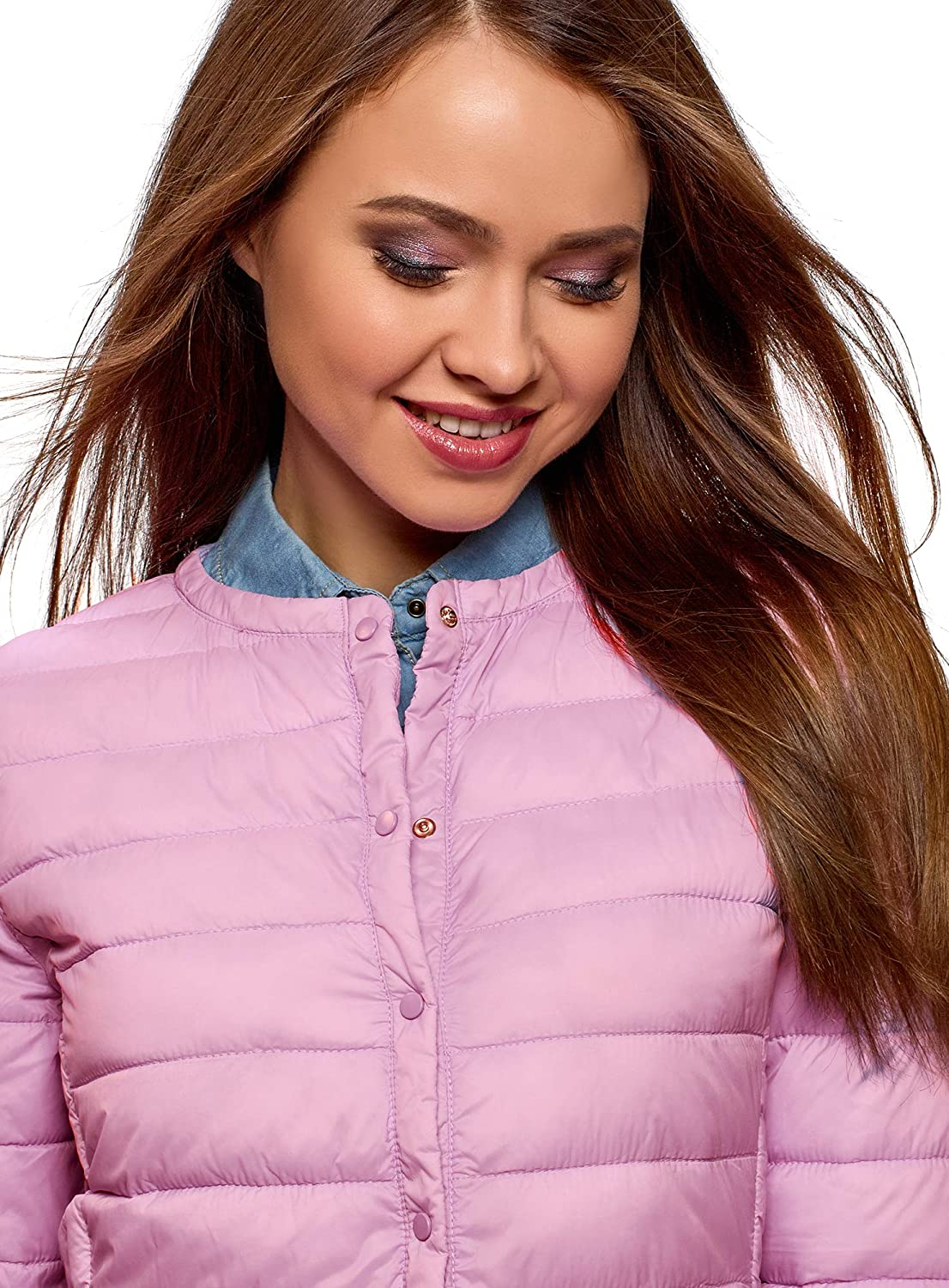 oodji Ultra Womens Round Neck Quilted Jacket