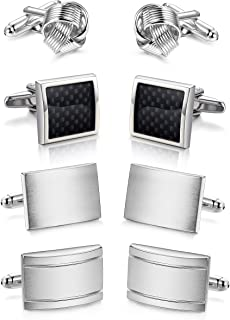 ORAZIO 2-4 Pairs Mens Classic Cufflinks Unique Gun Black Cufflinks for Men Business or Wedding Shirts
