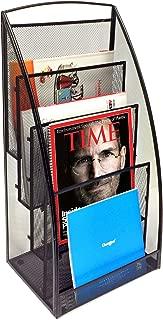 Mind Reader 4 Pocket Metal Mesh Newspaper and Magazine Rack, Black