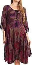 Sakkas Ceren Marble Dye Cascading Corset Dress with Handkerchief Sleeves