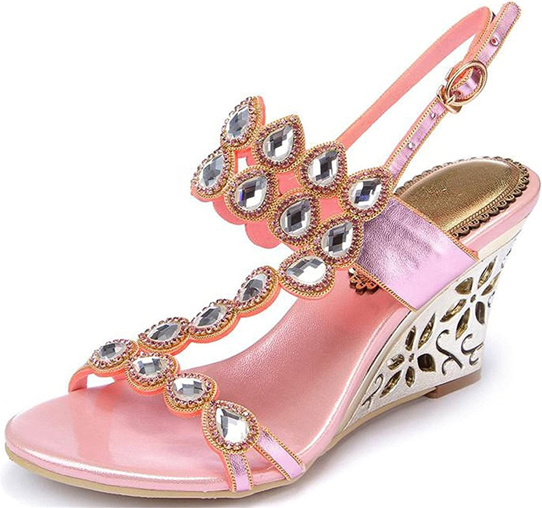 Garyline Shimmery Rhinestones Womens Wedge Sandal Dress Heeled Sandal for Party
