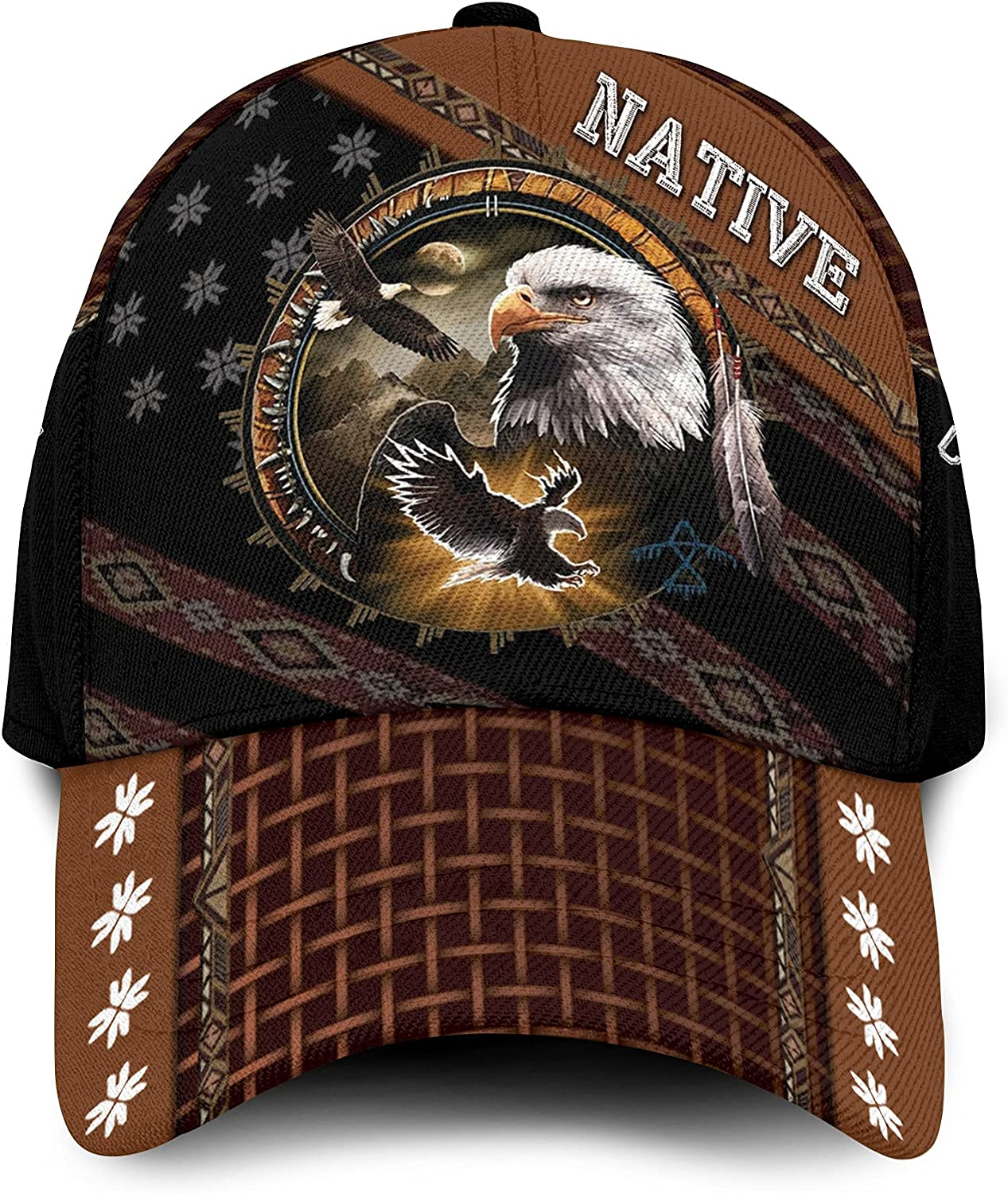 Native Pride with an Eagle Custom Name Personalized 3D Classic Baseball Cap Hat for American Indians