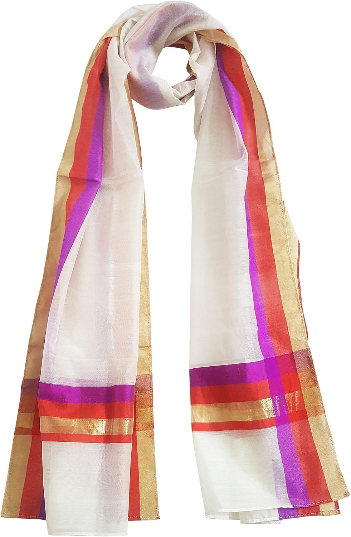 Mehrunnisa Handwoven Chanderi Stole With Pure Silk Border – Unisex ( Purple & Rust)