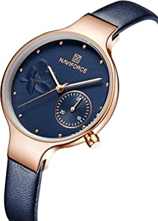 NAVIFORCE Women's Quartz Leather and Alloy Fashion Watches, Blue, Waterproof, Date, Color: Rose Gold-Toned