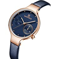 NAVIFORCE Women's Quartz Leather and Alloy Fashion Watches, Blue, Waterproof, Date, Color: Rose...