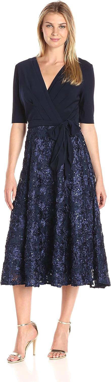 Alex Evenings Womens TLength Dress with pinktte Skirt and Tie Belt Dress