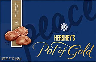 HERSHEY'S Pot of Gold Holiday Candy, Pecan Caramel Clusters, Gift Box, 8.7 Ounces